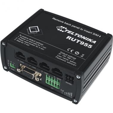 LTE маршрутизатор RUT955 с двумя SIM-картами, беспроводным соединение и интерфейсами RS232, RS485, GNSS.